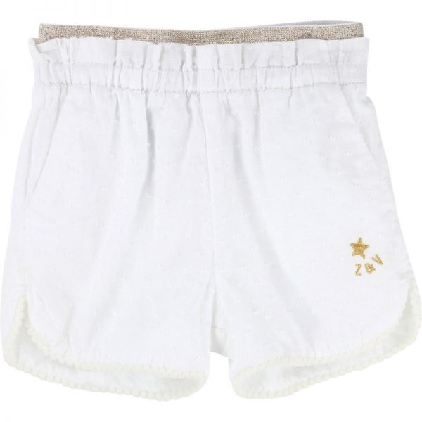 White shorts with gold elasticated waistband and embroiderd logo