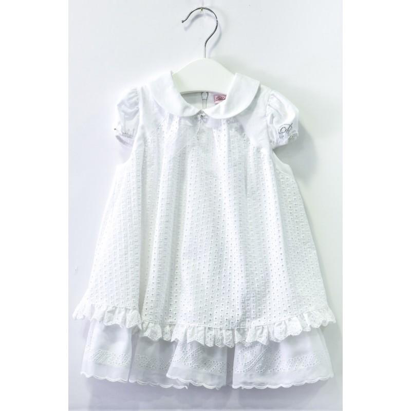Βρεφικό Λευκό Φόρεμα Με Κεντήματα