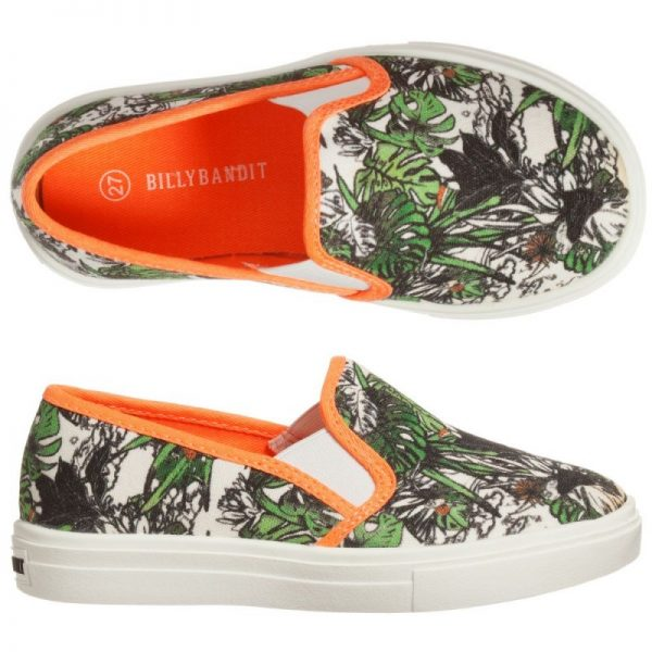 Boys green jungle print trainers