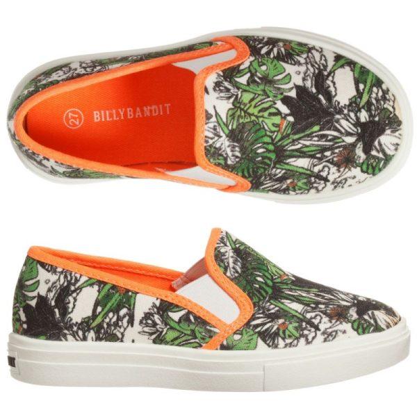 Boys green jungle print trainers