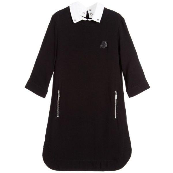 Girls black viscose dress with collar