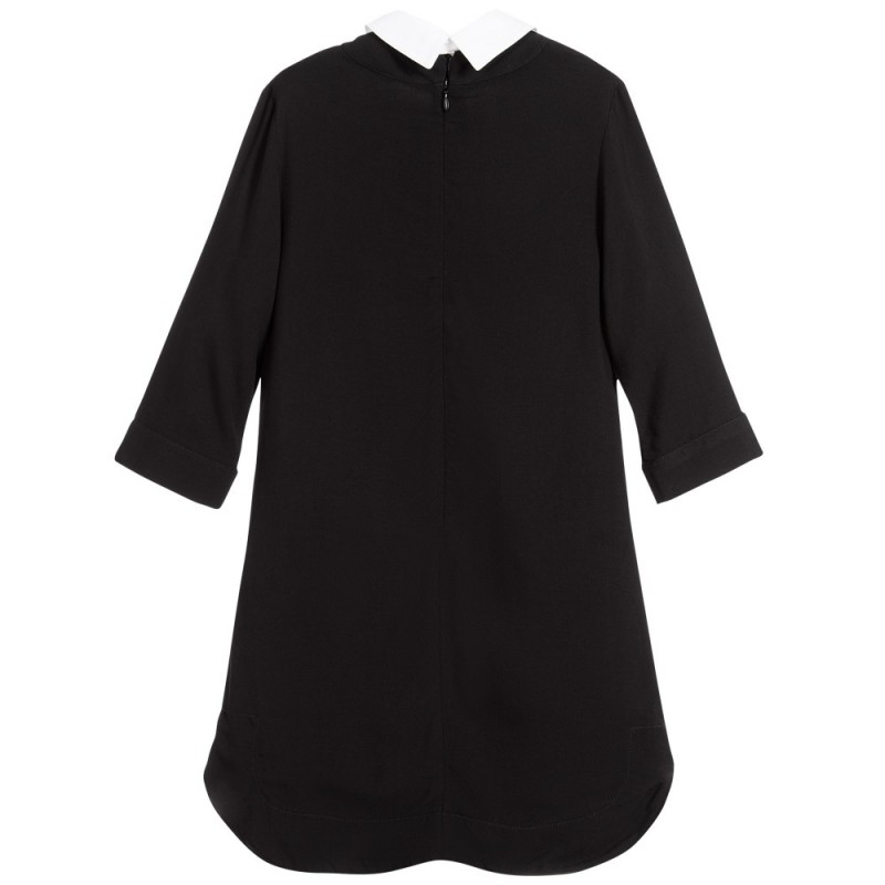Girls black viscose dress with collar