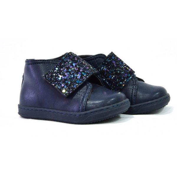 Βρεφικό Δερμάτινο Παπούτσι Blue Glitter