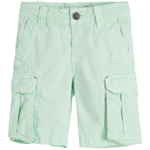 Boys Green Cotton Cargo Shorts