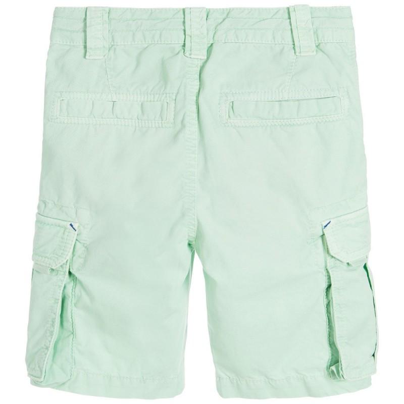Boys Green Cotton Cargo Shorts