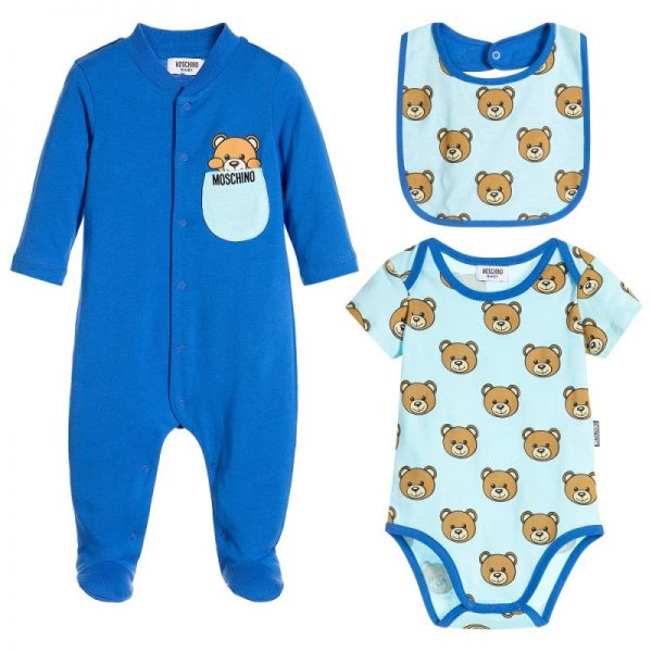 Boys Blue 3 Piece Babygrow Gift set