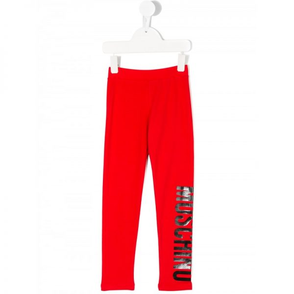 Girls Red Leggings With Logo