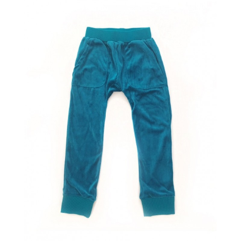 Hang Out Pants Velour Teal Blue