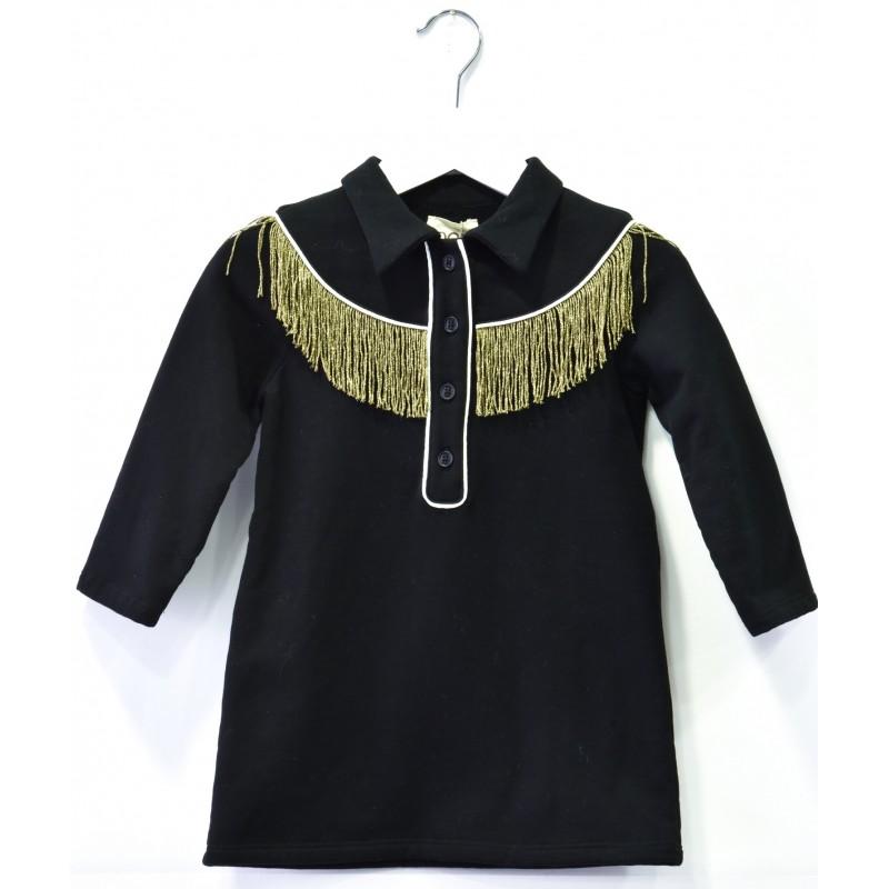 Παιδικό Μακρυμάνικο Μαύρο Φόρεμα