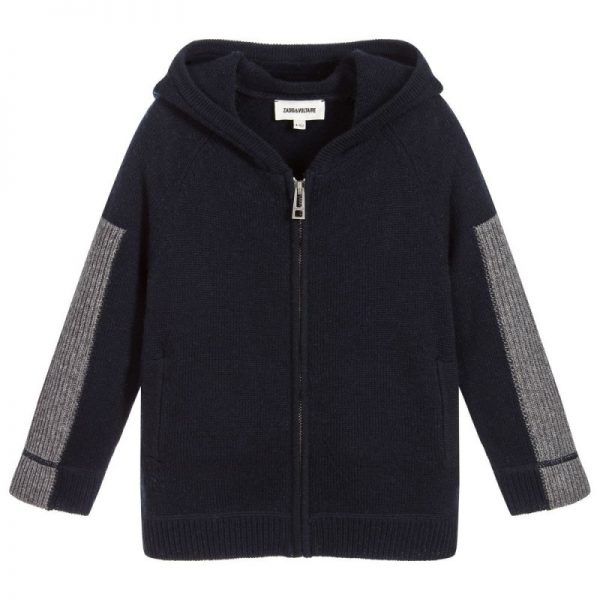 Boys Blue Knitted Zip-Up Top