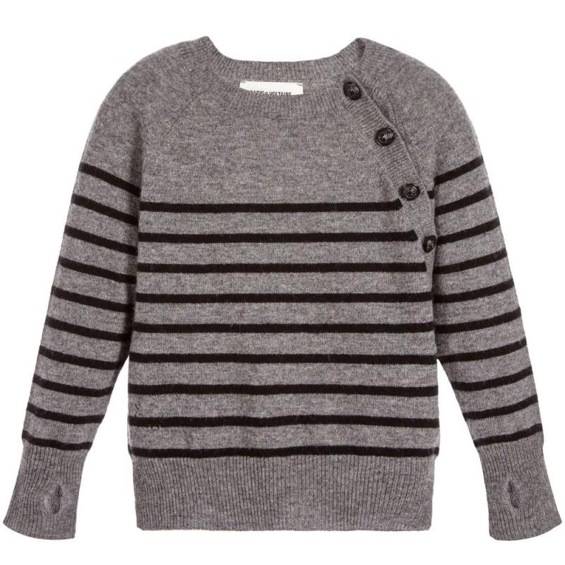 Girls Grey Wool Sweater