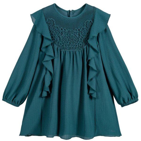 Παιδικό Φόρεμα Με Κέντημα Στο Λαιμό