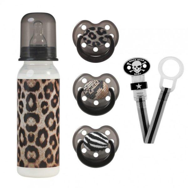 Βρεφικό Σετ Δώρου Με Μπιμπερό & Πιπίλες ''Leopard''