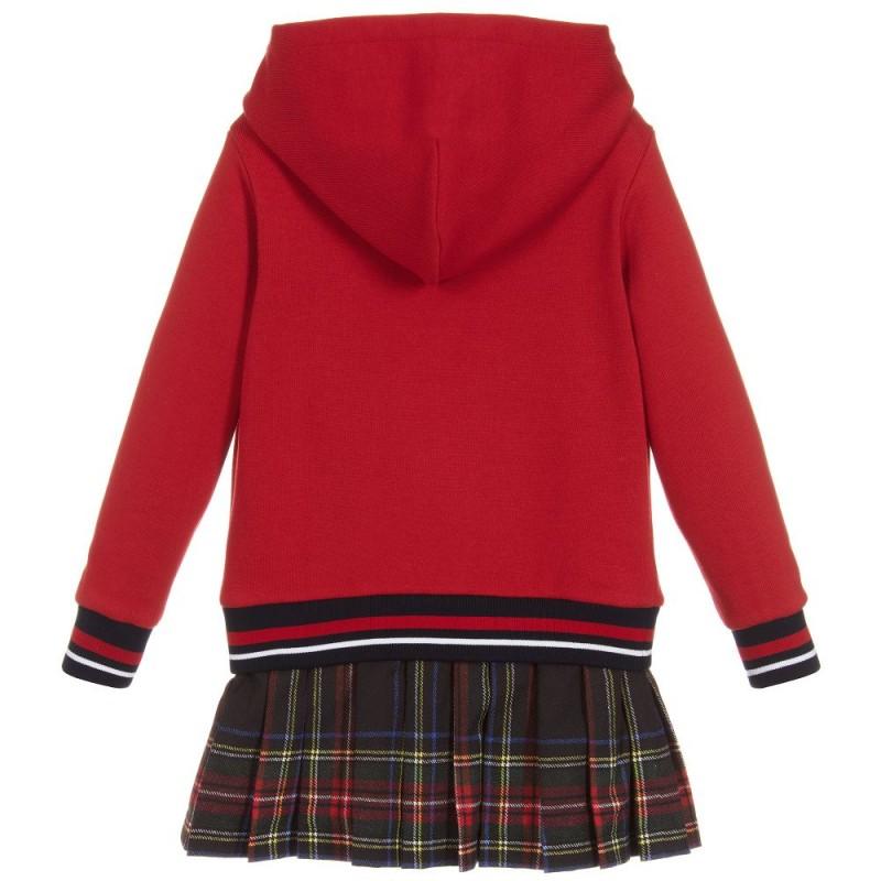 Παιδικό Μακρυμάνικο Κόκκινο Φόρεμα Με Πλισέ Φούστα