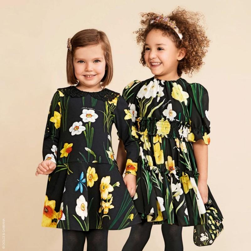 Παιδικό Φλοράλ Φόρεμα Με Δαντέλα Στο Γιακά