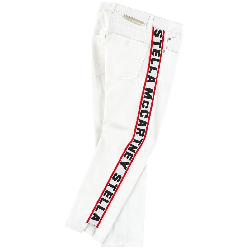 Παιδικό λευκό παντελόνι με logo