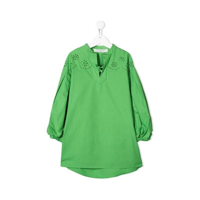 Παιδικό πράσινο φόρεμα με μπροντερί λεπτομέρειες