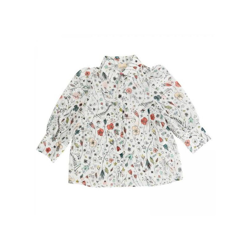 Παιδικό βαμβακερό πουκάμισο με λουλούδια