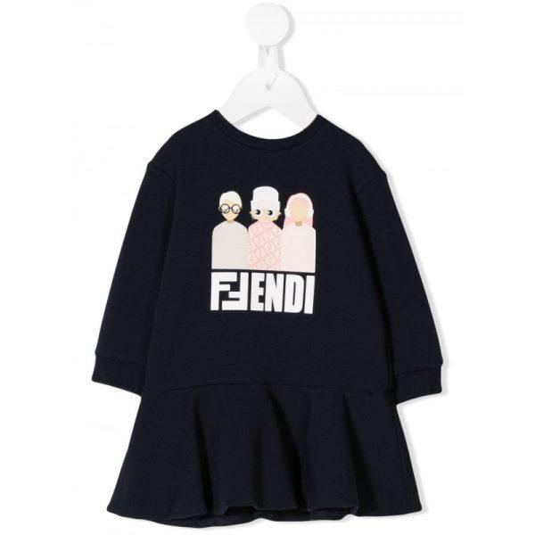 Βρεφικο φορεμα στρετς μπλε FENDI