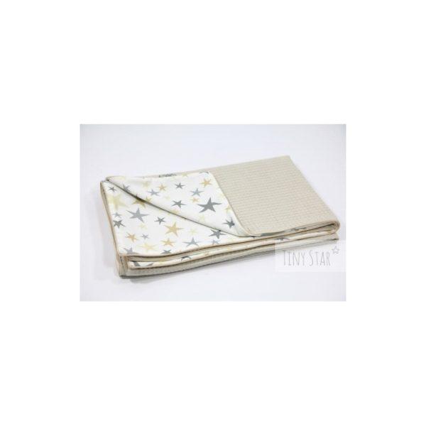 Βρεφικη κουβερτα 75*100 μπεζ+χρυση αστεροσκονη TINY STAR