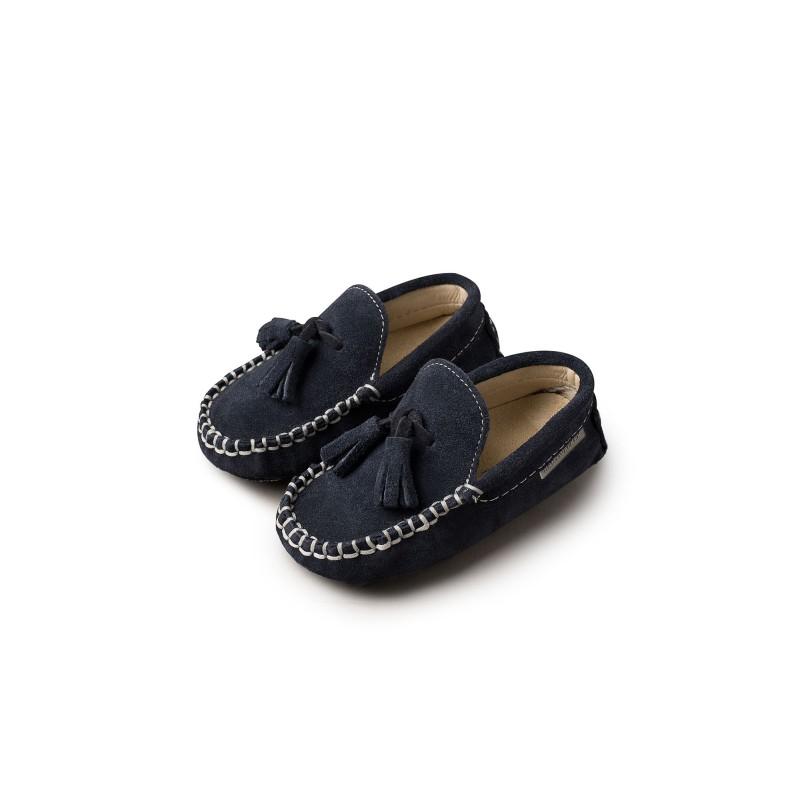 Βρεφικά παπούτσια καστόρινα με φουντάκια - BABYWALKER